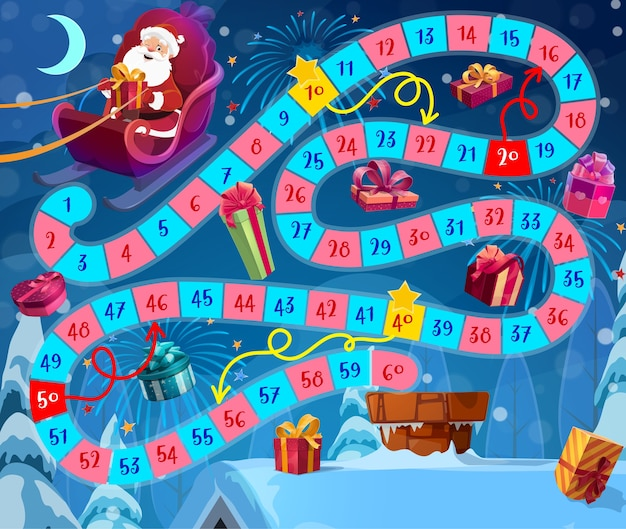 Kids christmas board game with santa claus and gifts. santa flying in sleigh, delivering and dropping presents in house chimney cartoon . children roll and move game with winding path or way