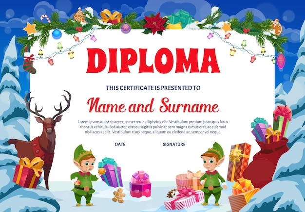 Kids christmas diploma, kindergarten certificate. child graduation diploma, party invitation template. holiday gifts, elfs and reindeer, christmas tree ornaments, poinsettia and sweets cartoon vector