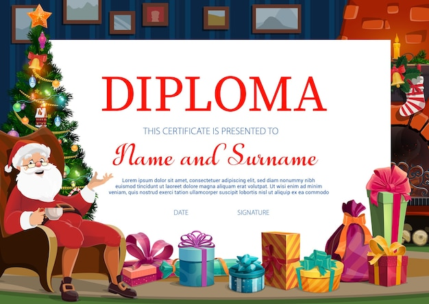 Kids christmas diploma template with santa and gifts. happy santa sitting with cup of tea, holiday gifts and christmas tree in house living room cartoon vector. winter holidays child certificate