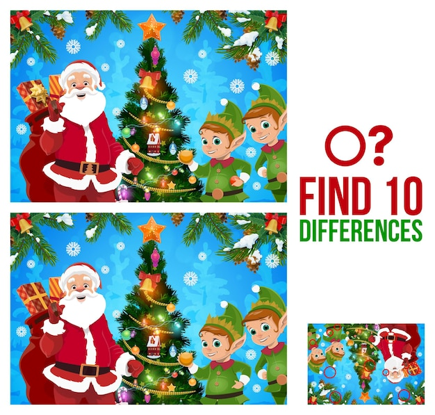 Kids christmas find ten differences game with santa, elfs and decorated christmas tree cartoon vector. children winter holiday activity, educational riddle or puzzle with comparing details task