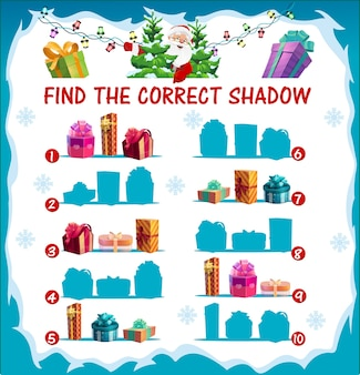 Kids christmas riddle, find correct shadow game with christmas gifts silhouettes. children matching game, maze with wrapped presents, giftboxes decorated ribbon bow and santa character cartoon Premium Vector
