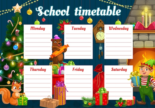 Kids christmas school timetable with fairytale animals and gifts. children lesson schedule, child week planner template. elf, bear and squirrel babies with gifts near christmas tree cartoon vector