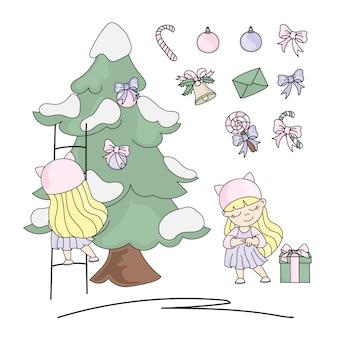 Kids christmas set new year color illustration