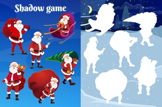 Kids christmas shadow matching riddle, game with santa character. preschooler child playing activity with silhouette compare task. santa in sleigh, carrying christmas tree and gift sack cartoon vector