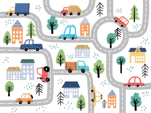 子供の保育園の装飾のための道路と車のある子供の都市地図。カーペットのための村や町の通りの迷路。漫画のボードゲームのベクトルの背景。トラクター、トラック、タクシーの自動車の運転