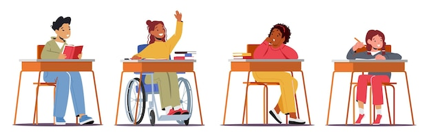 Kids at the classroom disabled children education
