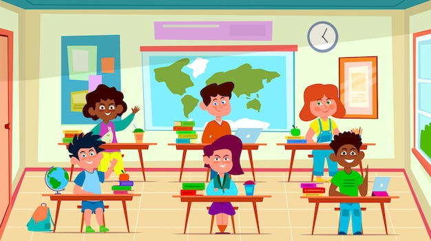 Kids in classroom. primary school happy children boys and girls on lesson learning knowledges in class interior.