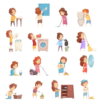 Kids cleaning cartoon icons set