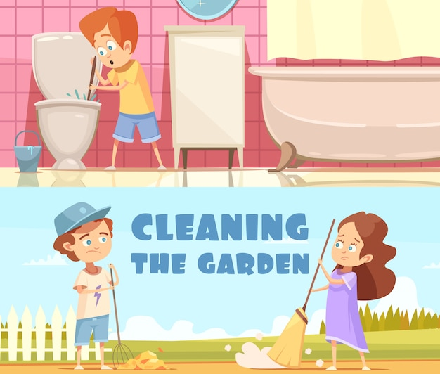 Kids cleaning toilet bowl in bathroom and helping in garden 2 horizontal cartoon banners isolated