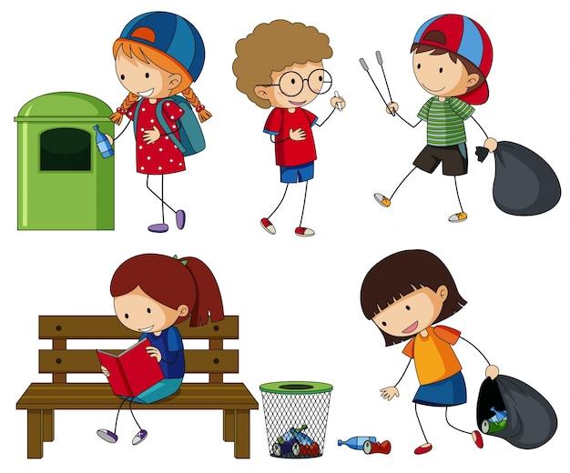 쓰레기를 청소하는 아이들