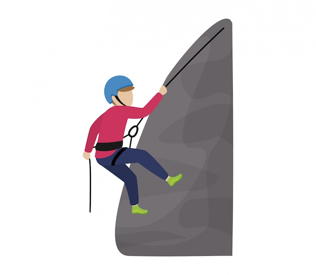 登山家の子供たちのキャラクターを登る子供たちは白い背景の上の極端なスポーツの登山家で子供の山の岩の壁や山岳崖の図登山セットを登る