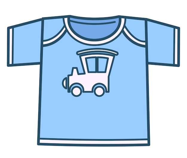 子供服とファッション、自動車、車、機関車のプリントが付いた青いボーイッシュなtシャツの孤立したアイコン。 10代の若者や生まれたばかりの赤ちゃんのための服。幼児のための衣装、フラットスタイルのベクトル