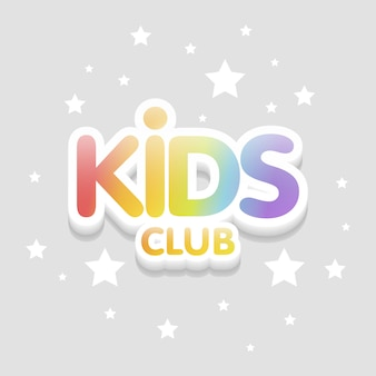 Kids club fun 3d rainbow letters in light background. illustration template