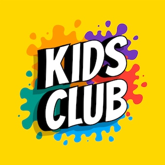 Kids club inscription on the background of colored heels of paints. vector flat illustration.