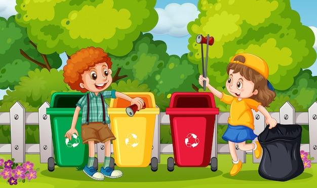 Kids collecting trash in garden