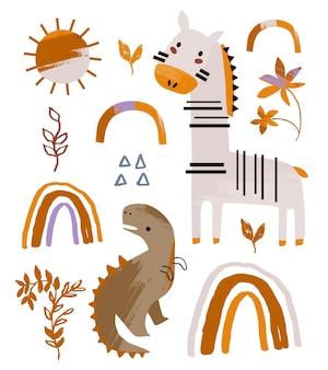 Детская коллекция с животными и элементами альбома для вырезок детского душа