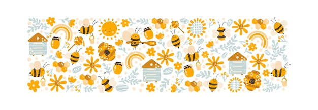Kids colorful honey vector poster hand drawn set of cartoon doodle objects bee, flower and hive. baby symbols and items.