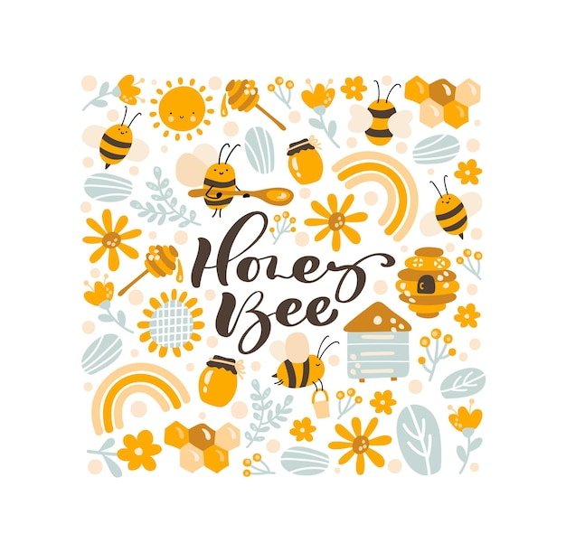 Kids colorful vector poster hand drawn set of honey cartoon doodle objects and text honey bee.