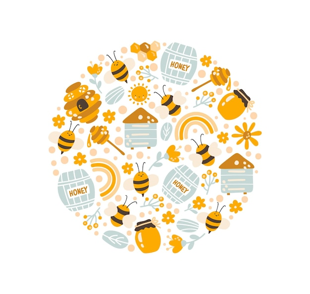 Kids colorful vector round poster hand drawn bee honey cartoon doodle objects summer circle pattern
