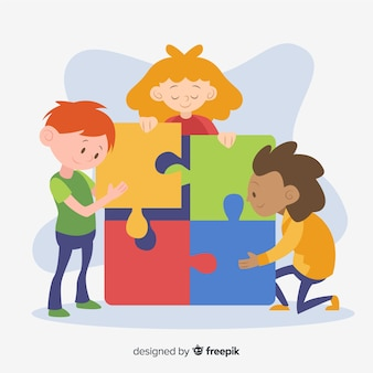 Kids connecting puzzle pieces background