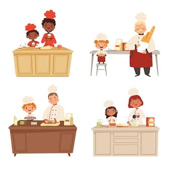 요리하는 아이들. 성인과 함께 음식을 만드는 요리사 유니폼은 남성과 여성의 전문 인물 캐릭터를 요리합니다.