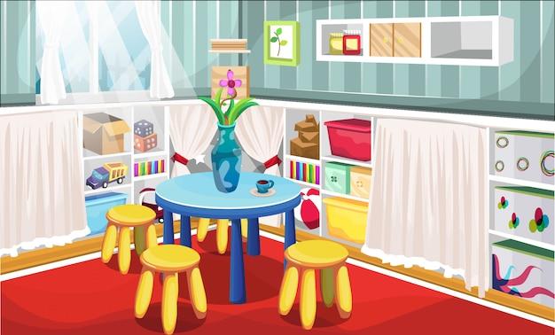テーブル、フラワーキャンバス、おもちゃの箱、サイコロ、カーテンと椅子のある棚キャビネット内のトラックのおもちゃを備えたキッズコーナールーム