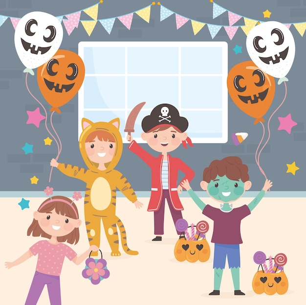 Kids in costumes celebrating halloween party