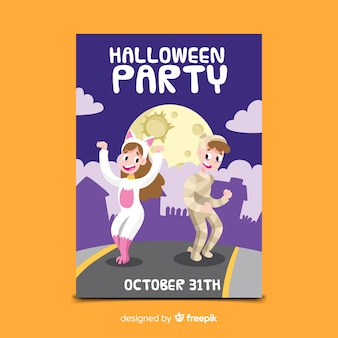 Kids in costumes dancing halloween party flyer template