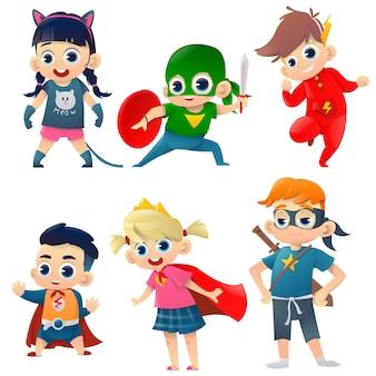 Kids in costumes superheroes retro set
