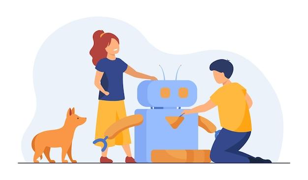 로봇을 만들거나 사용하는 아이들. 개, 애완 동물 먹이기, 어린이. 만화 그림
