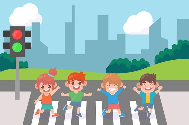 Kids crossing city crossroad with traffic lights