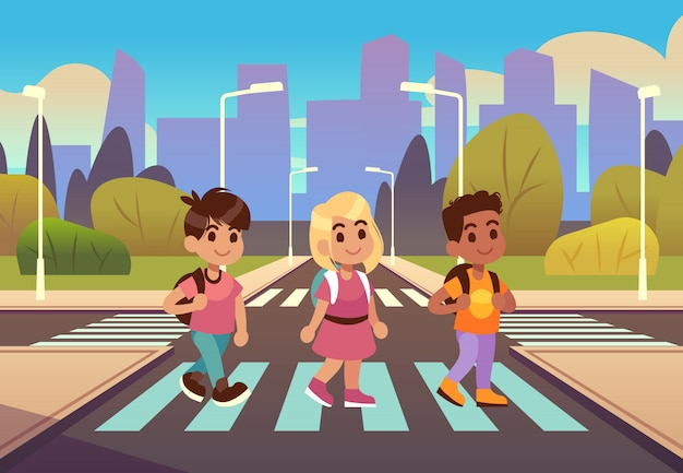 Kids crosswalk. road safety zebra traffic light warning, students school child pedestrian sidewalk, street car urban