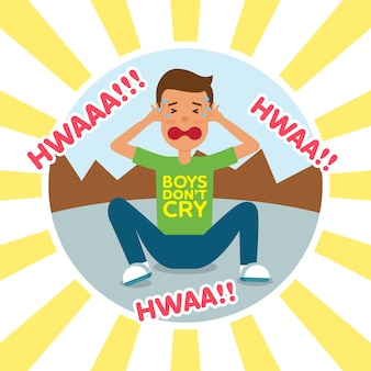 Kids crying flat vector illustration