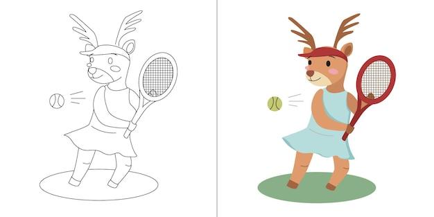 子供のためのテニスの塗り絵やページを遊ぶ子供かわいい漫画の鹿