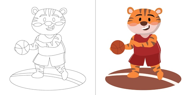 Kids cute cartoon tiger playing basketball coloring book or page for kids
