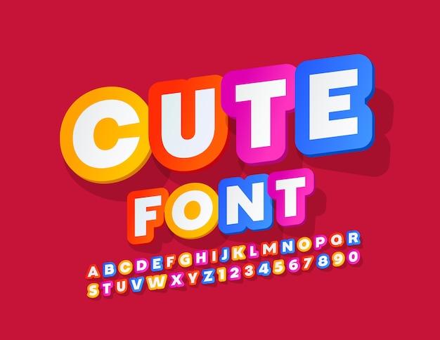 키즈 귀여운 글꼴. 어린이를위한 다채로운 알파벳 문자와 숫자