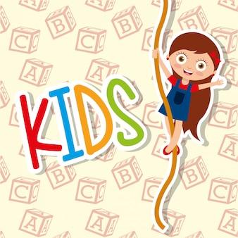 Kids cute girl climbing rope funny