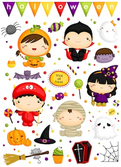 Kids in cute halloween costume vector set