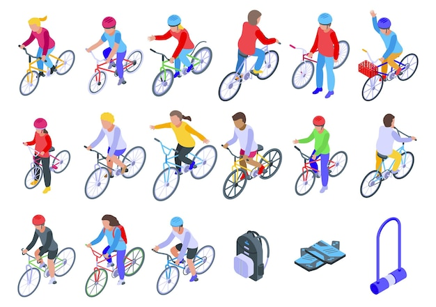Kids cycling  set. isometric set of kids cycling   for web design isolated on white background