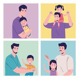 Kids and daddies Premium Vector