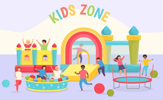 Kids day care playground. girls and boys playing in room with trampolines, bouncy castles, soft pool and slide. playroom center vector scene. illustration kid zone with trampoline activity