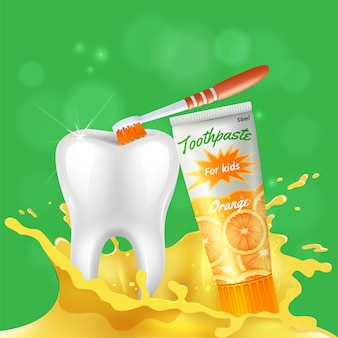 Kids dental care realistic composition with white shining healthy tooth brushed with orange flavored toothpaste