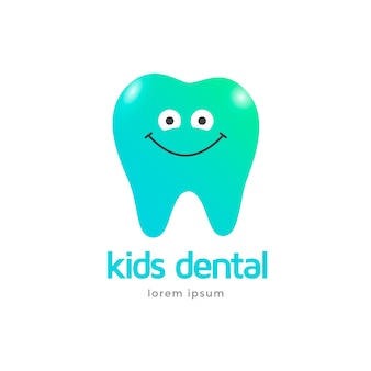Kids dental clinic logo template. icon character tooth smiling.