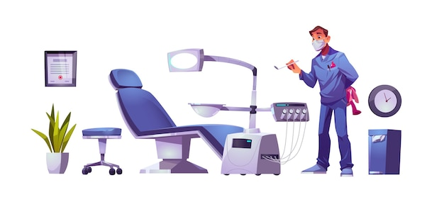 Kids dentist doctor in dental clinic stomatology cabinet, orthodontist with mirror and toy at workplace with modern chair equipped with integrated engine and surgical light cartoon illustration