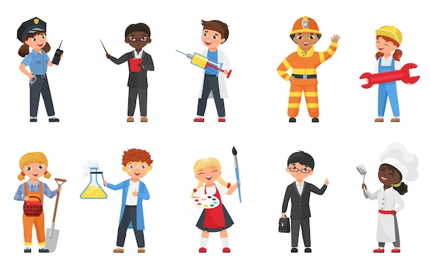 Kids in different professions and poses vector illustration set.