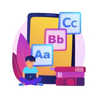 キッズデジタルコンテンツ抽象的な概念図。キッズデジタルエンターテインメントと教育、幼児向けのオンラインコンテンツ、子供向けメディア、アプリ開発。