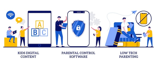 Kids digital content, parental control software, low tech parenting. set of children media access