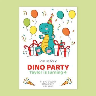 Детский шаблон приглашения на день рождения динозавра
