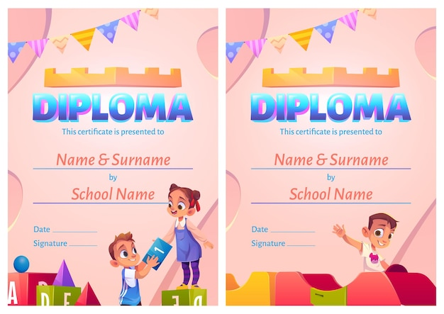Certificato di cartone animato diploma per bambini con bambini