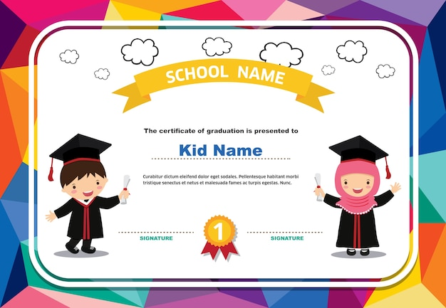 Kids diploma certificate colorful background design template